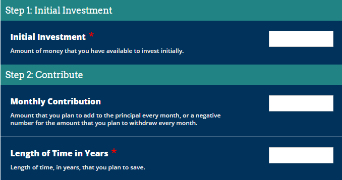 Compound interest calculator, Financial planning tool