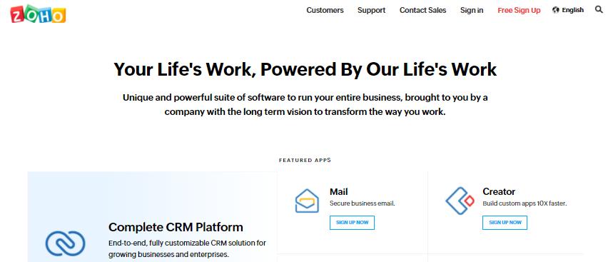 Zoho creator database management software